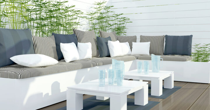 Outdoor,Patio,Seating,Area,With,Big,White,And,Black,Sofa